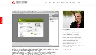 Screenshot of an eLearning website