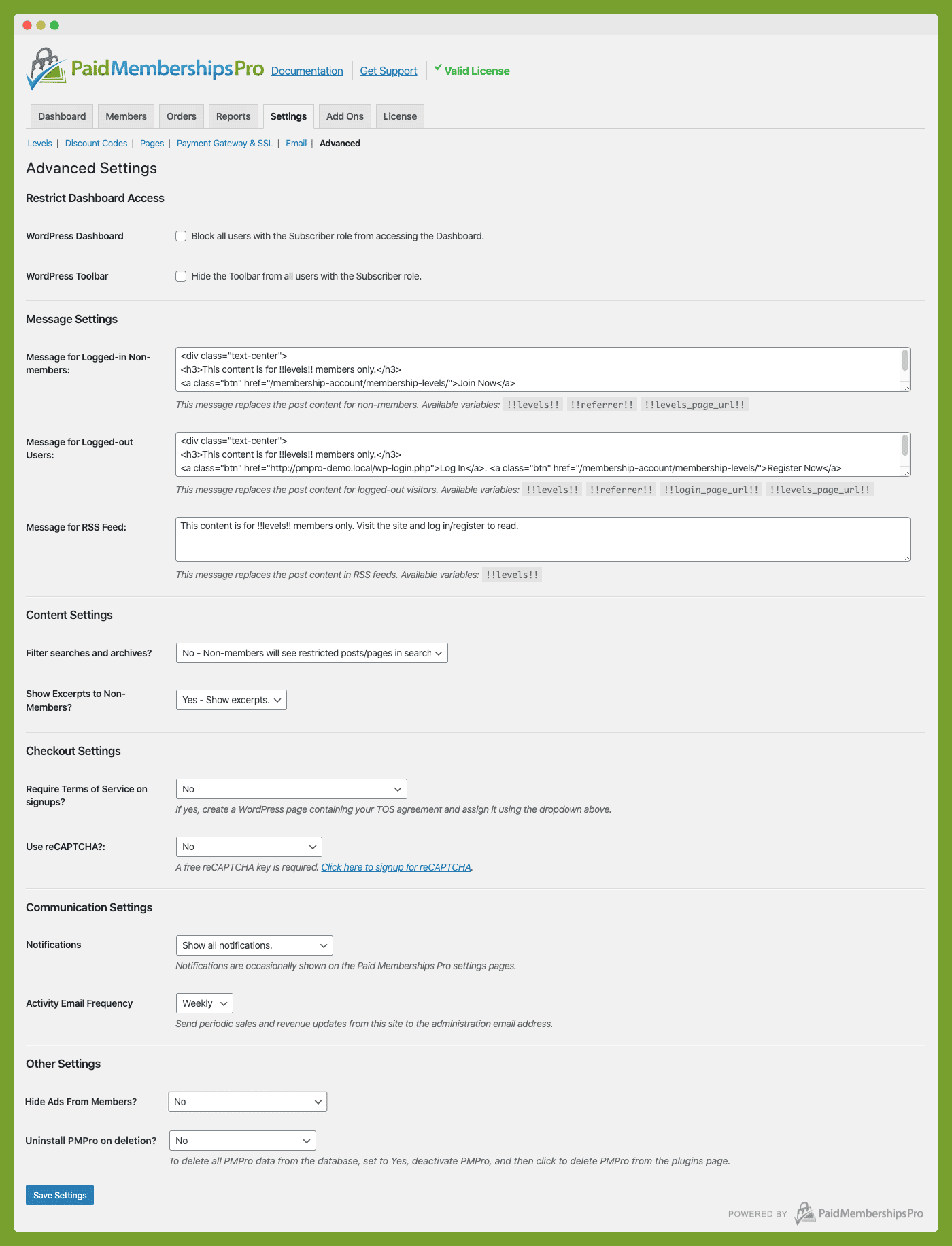Advanced Settings Admin Page for Paid Memberships Pro WordPress Plugin