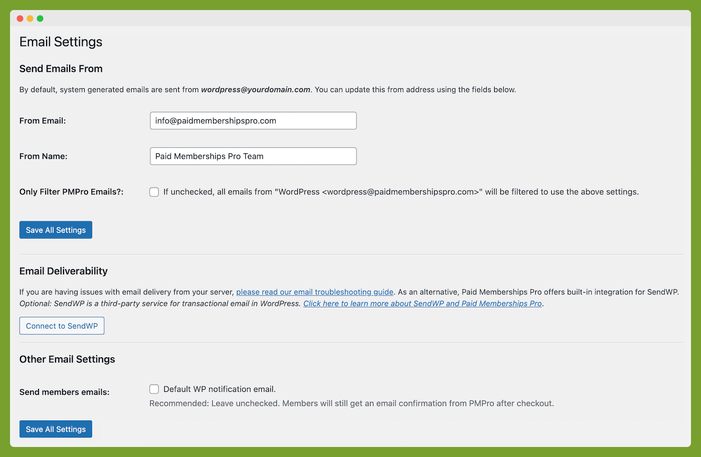 Email Settings for Paid Memberships Pro