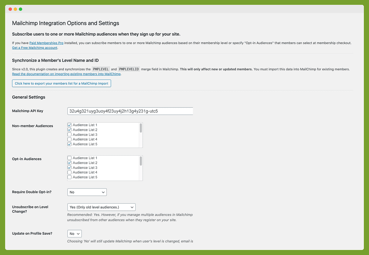 Screenshot of General Settings for the Mailchimp Add On for Paid Memberships Pro