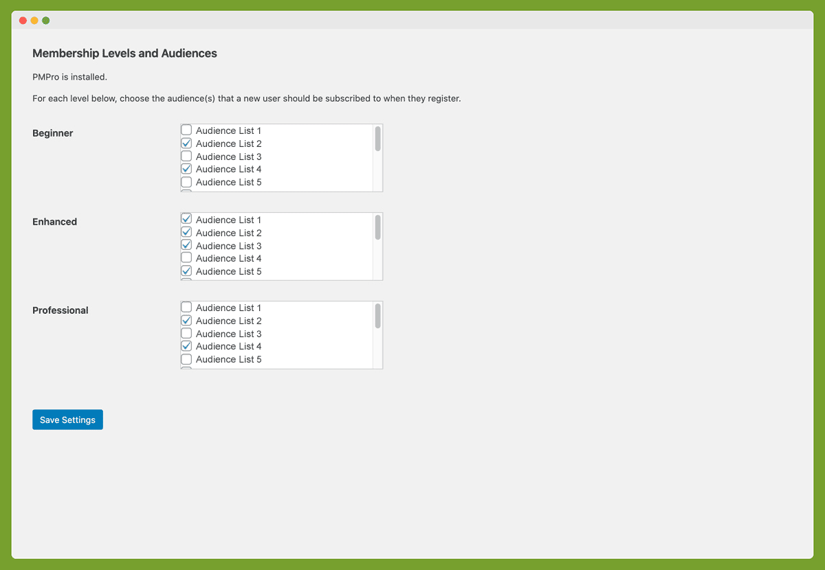 Screenshot of Membership Levels and Audience Settings for the Mailchimp Add On for Paid Memberships Pro