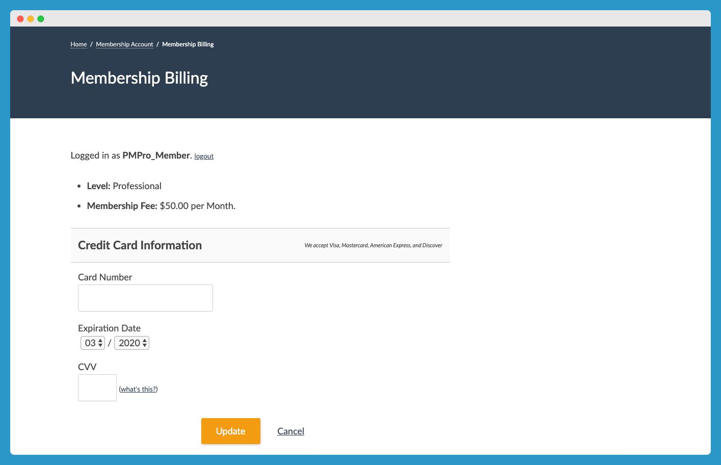 Membership Billing Page
