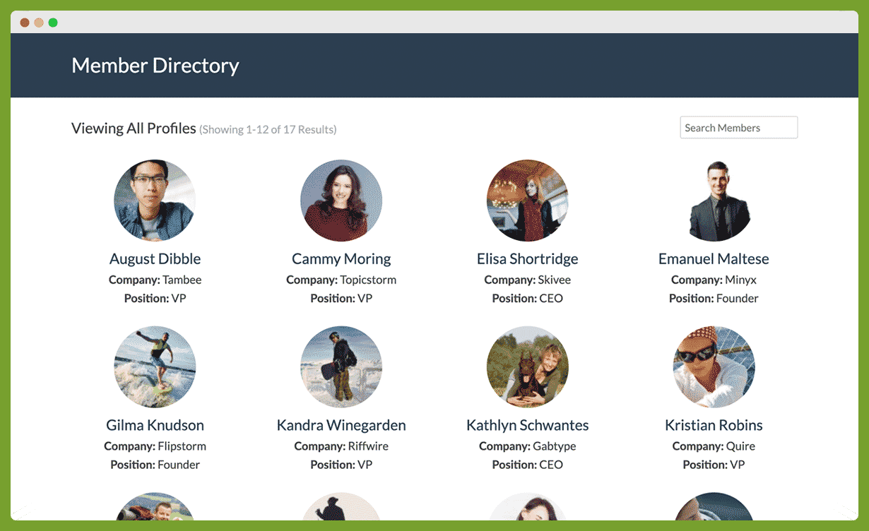 Member Directory with custom fields for Company and Position