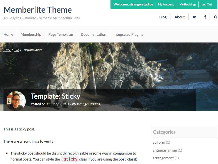 Memberlite Single Banner Post