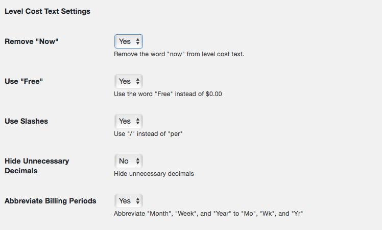 Advanced Settings for Level Cost Text Screenshot