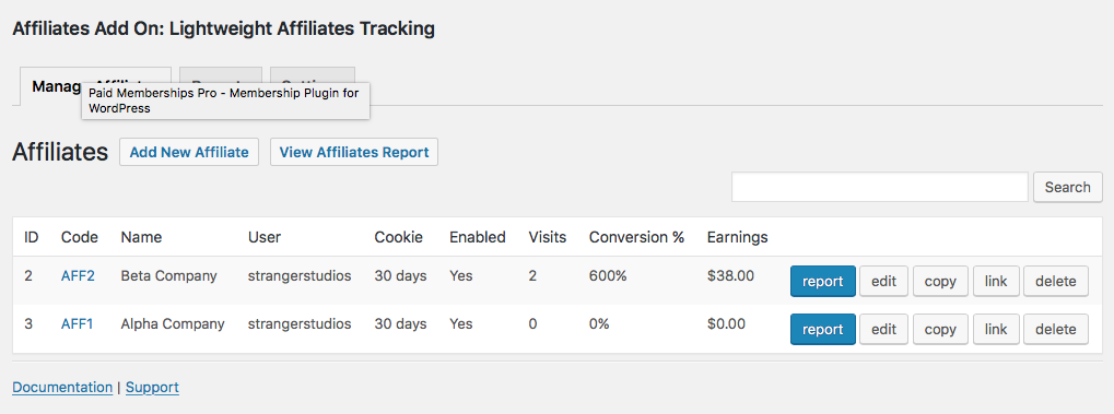 Screenshot of the Affiliates Admin Page and Report