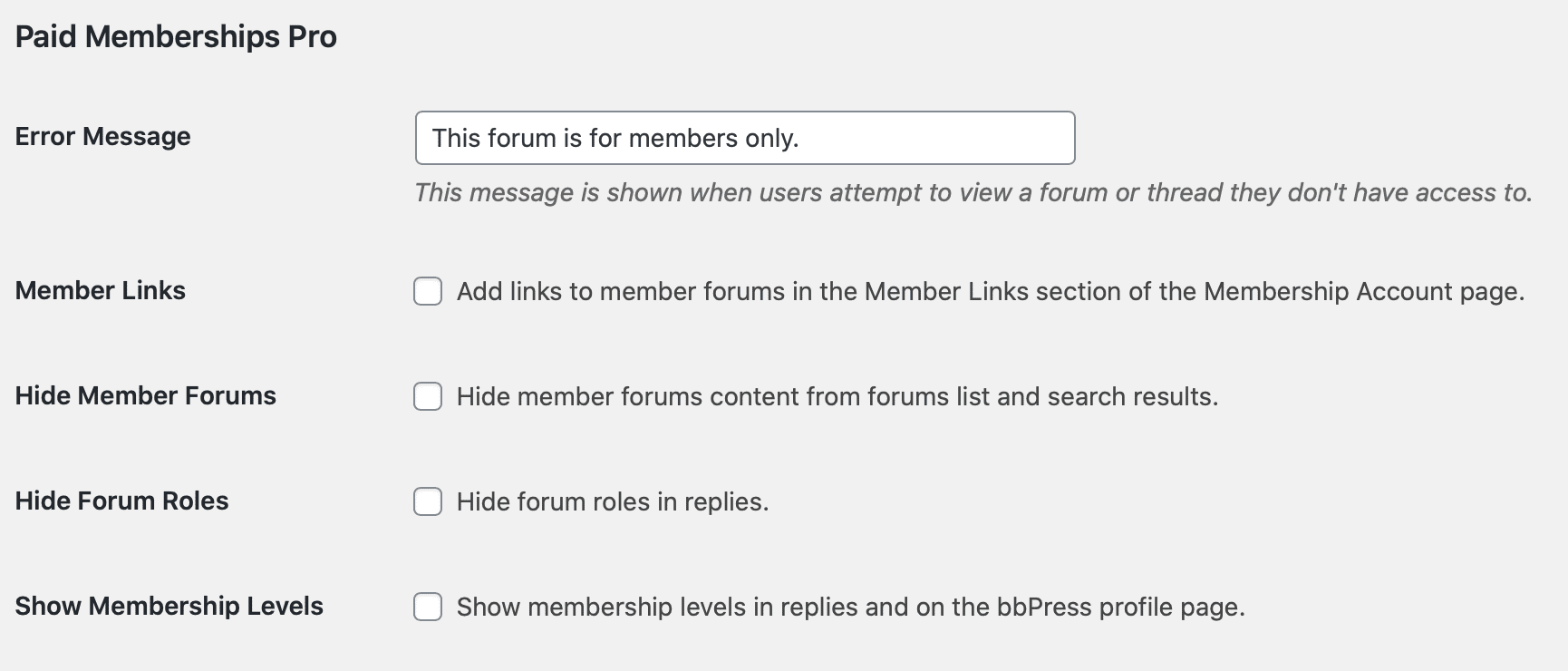 bbPress Integration - General Forum Settings