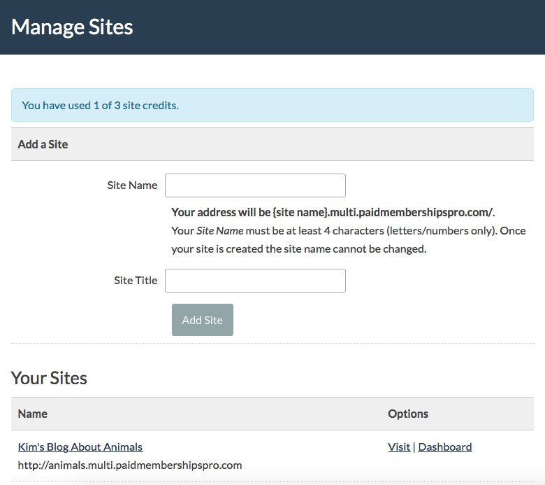 Screenshot of Member Dashboard for Managing Sites