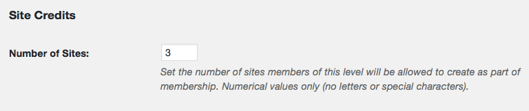 "Screenshot of defining the Membership Level ""Site Credits"""