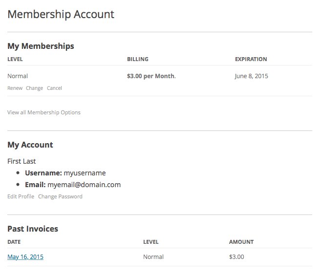 Membership Account Page