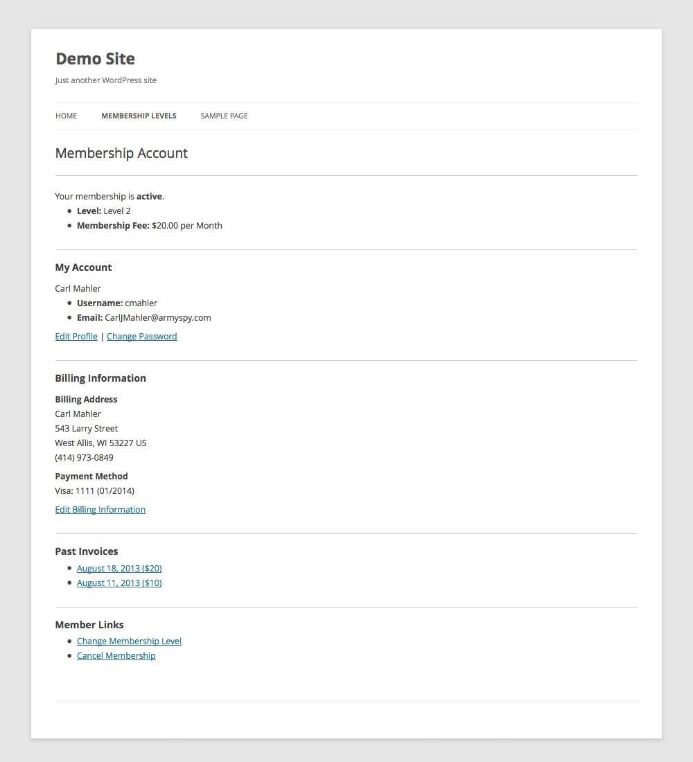 Membership Account Page