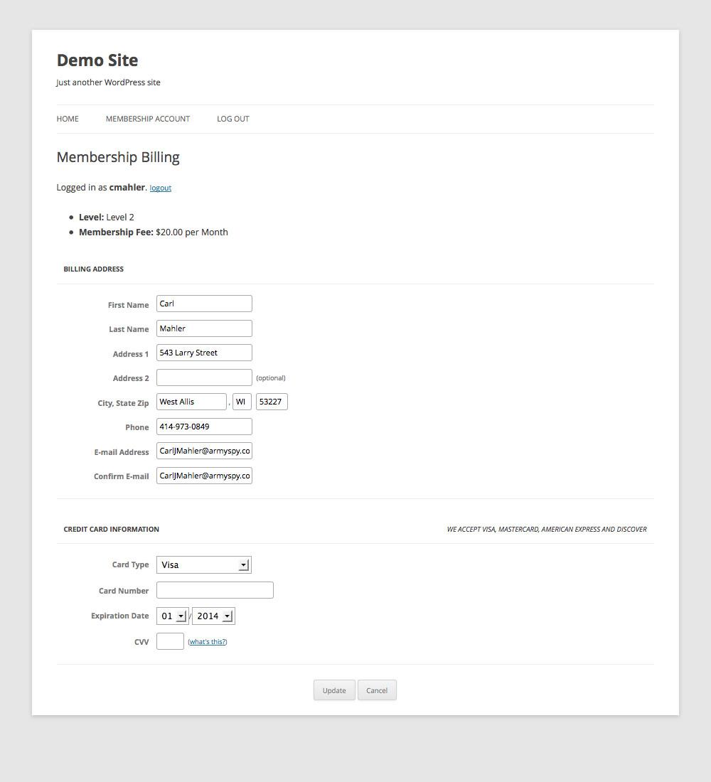 Membership Change Billing Information Page