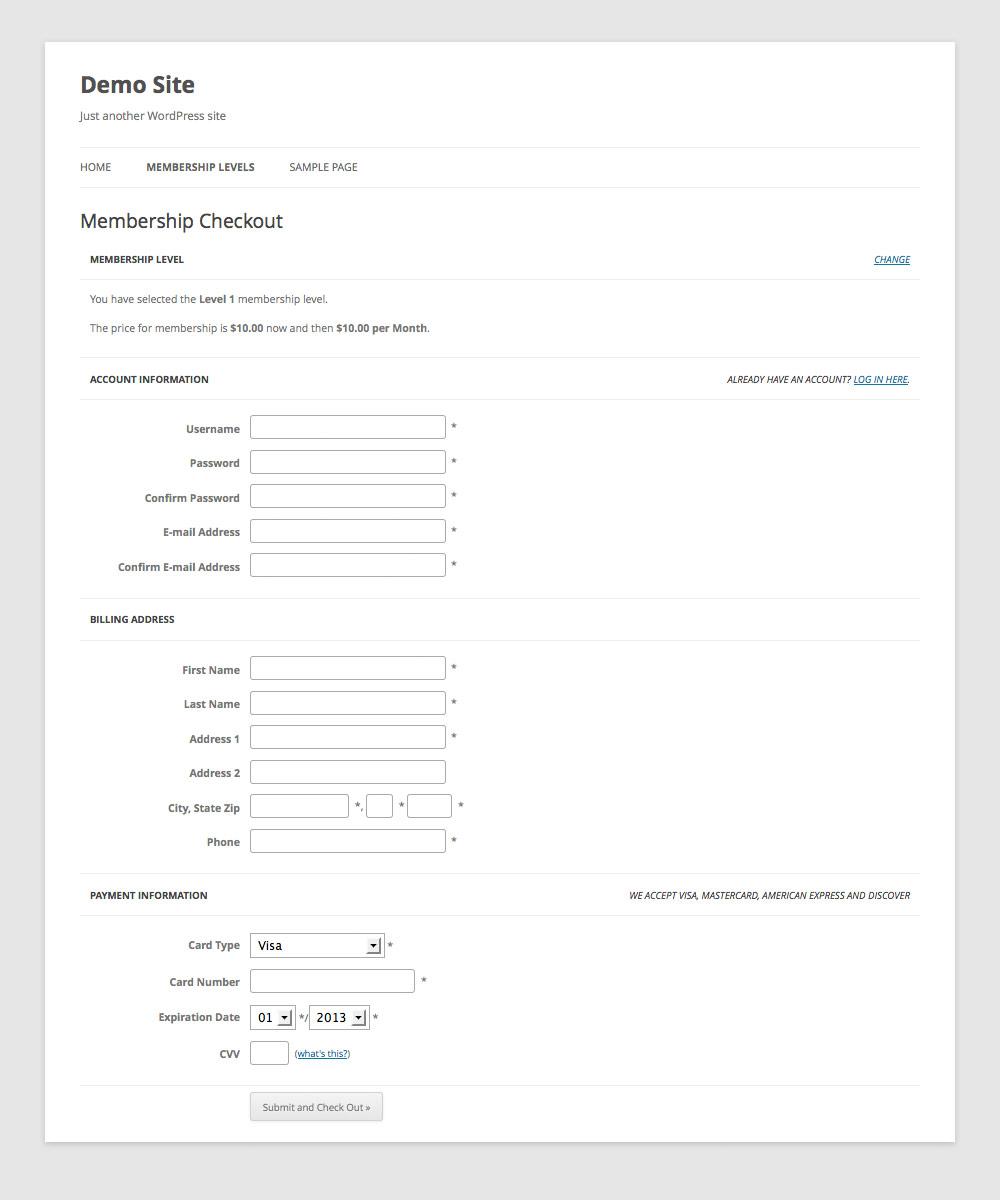 Membership Checkout Page