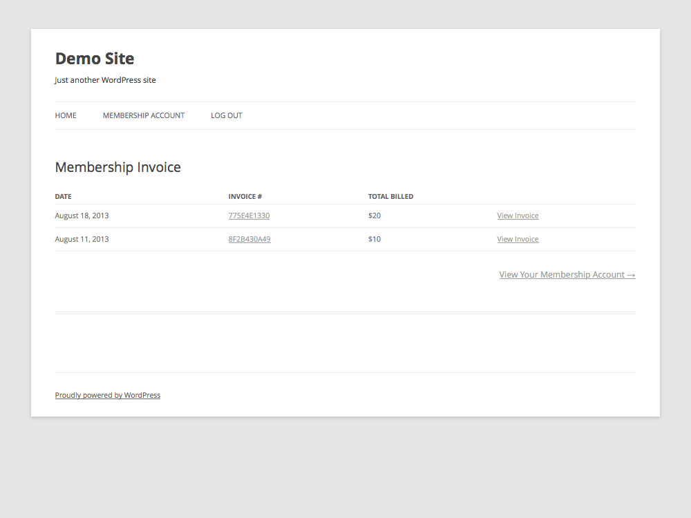 Membership All Invoices Page