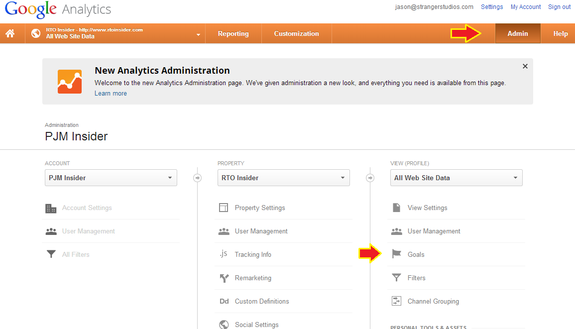 Finding Goals in Google Analytics