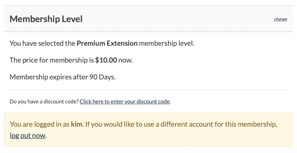 Purchasing a 30 day membership extension