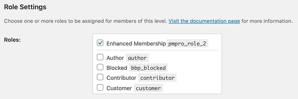 Memberships > Settings > Memberships Levels > Edit Level Settings for the Roles for Membership Add On