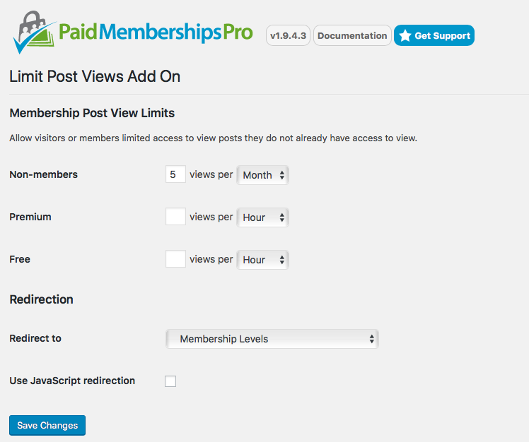 Limit Post Views Add On for Paid Memberships Pro