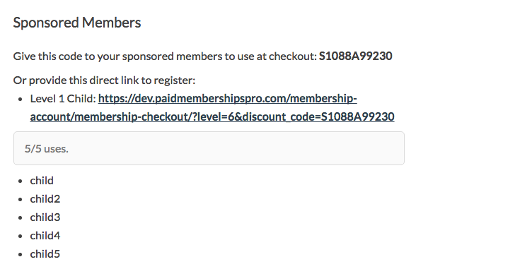Users with a Sponsor Code can view their code, signup link, and current children on the Membership Account page