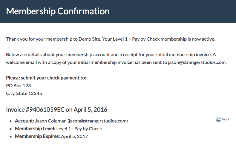 Screenshot of PMPro Membership Confirmation with Membership Level