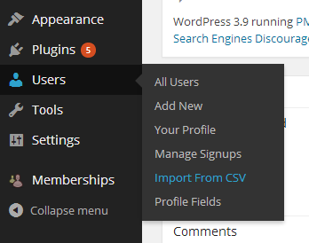 """Screenshot to show how to get to """"Import From CSV"""" on WordPress"""