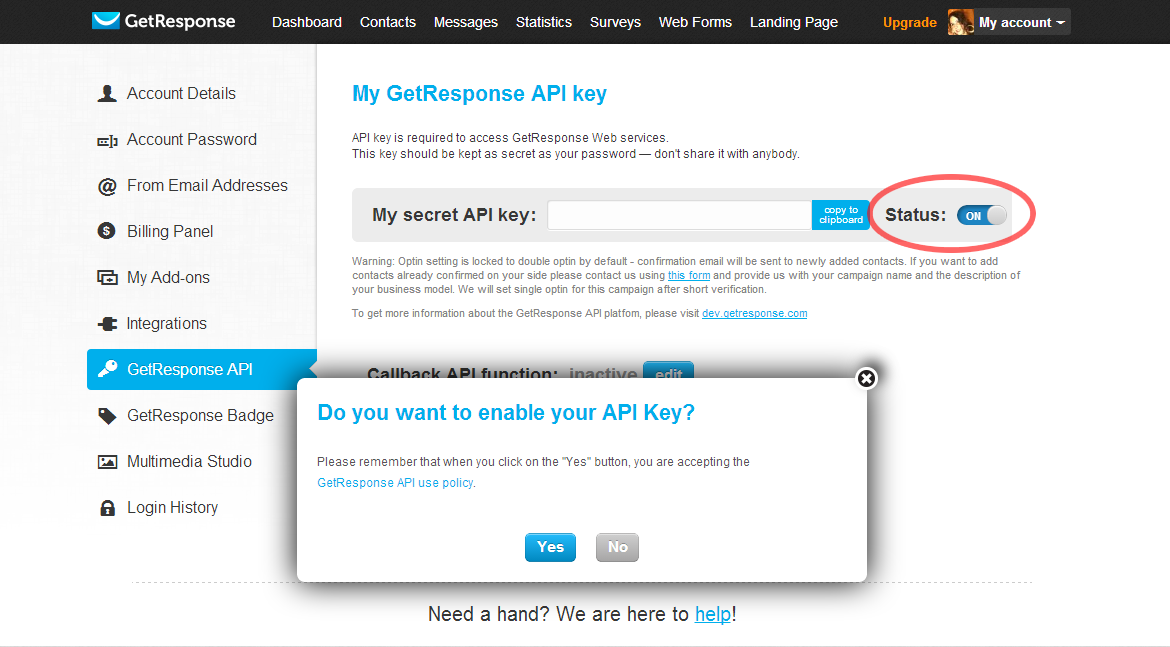 Enable API Key