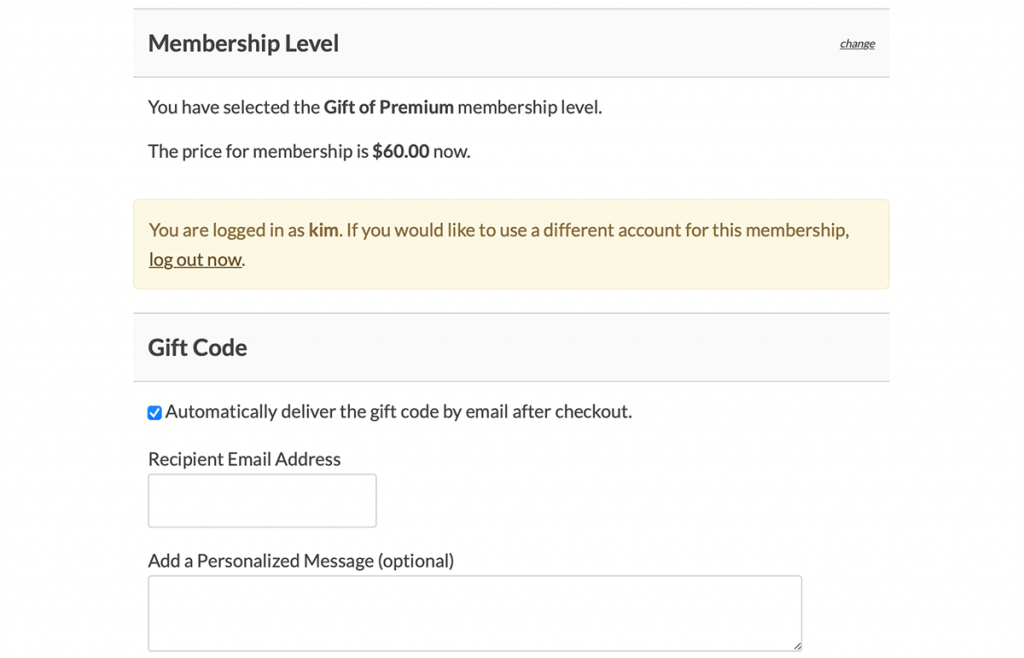 Gift Membership checkout page screenshot with recipient information fields