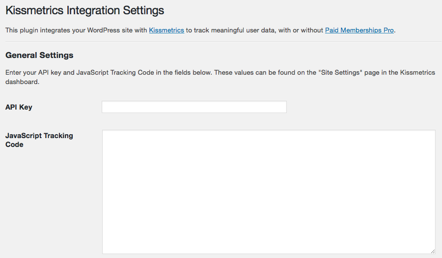 Kissmetrics Integration Settings