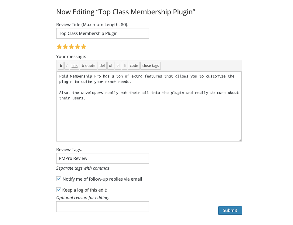 Review Form of PMPro
