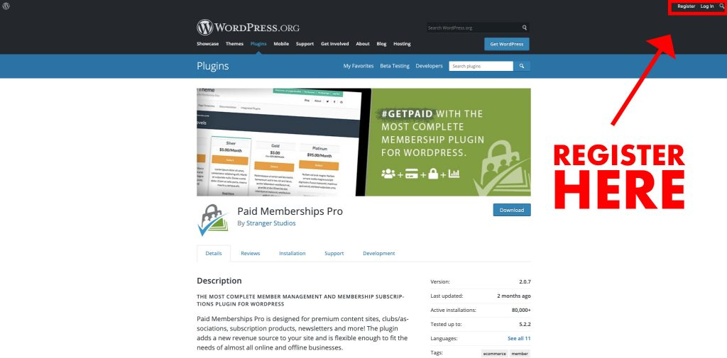 Screenshot of where to register for WordPress to leave a review about PMPro