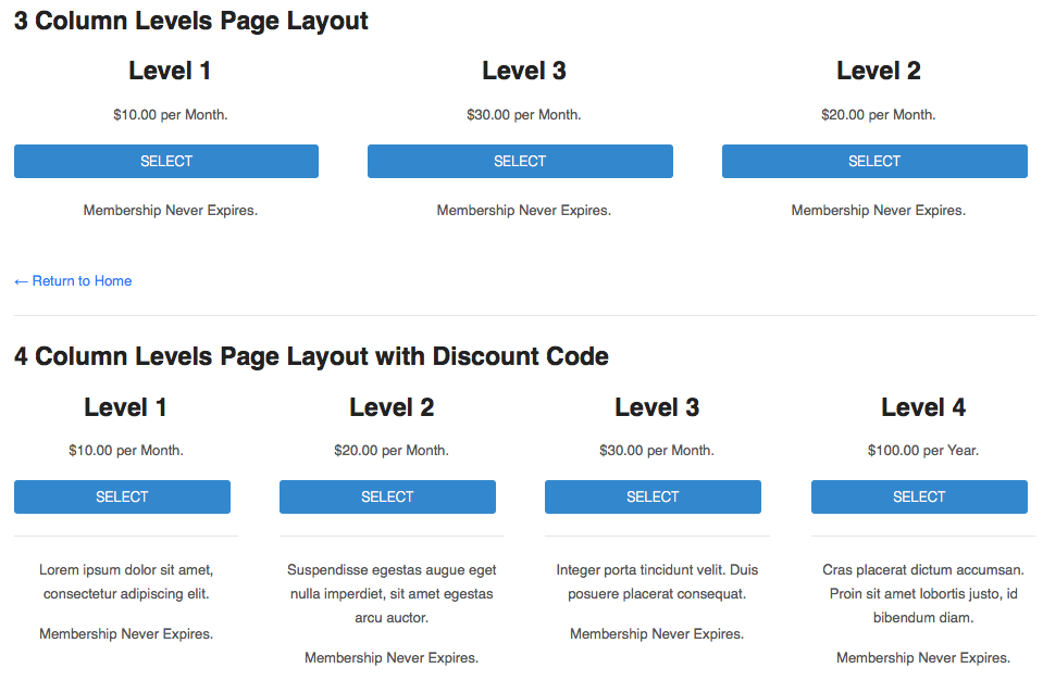 Advanced Levels Shortcode - Woothemes