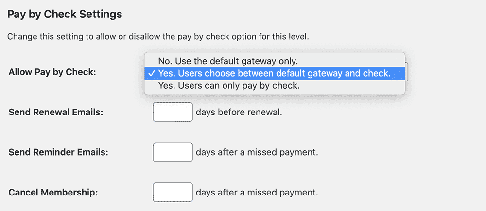 Screenshot of the Membership Level Settings for the Pay by Check Add On