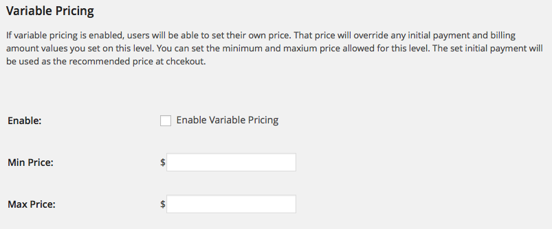 Variable Pricing Admin Settings