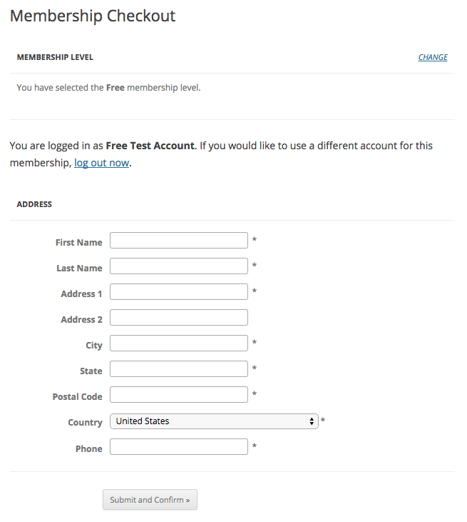 Screenshot of the Address at Membership Checkout for a Free Membership Level