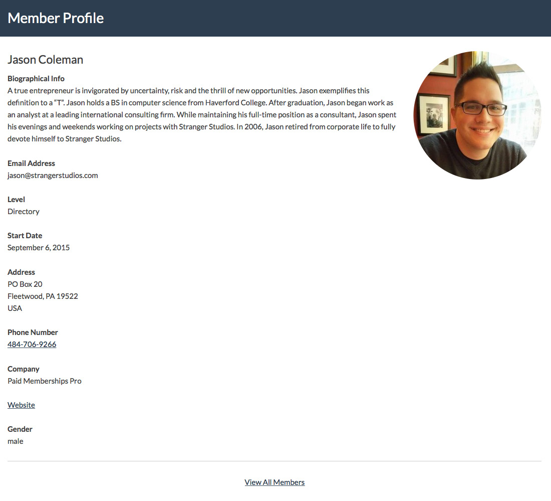 Screenshot for a Single Member Profile