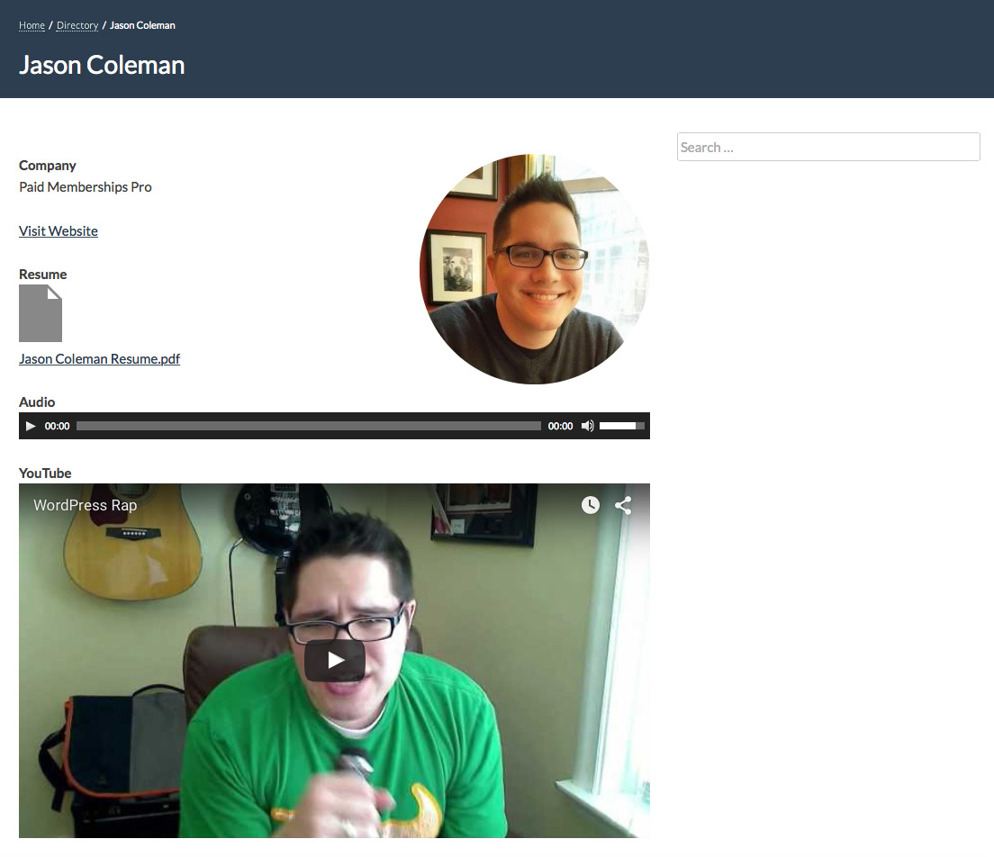 Screenshot for a Single Member Profile with Embedded Content