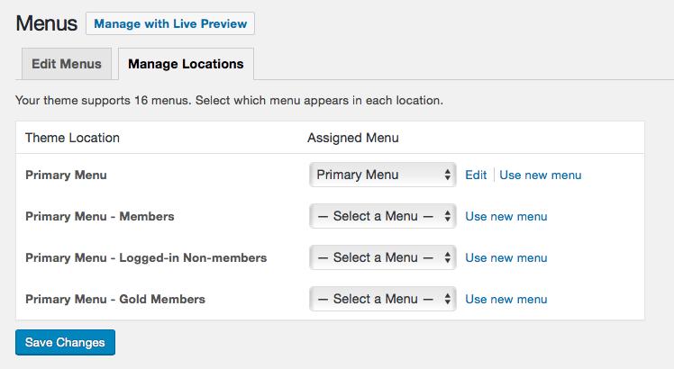 Screenshot of membership-specific navigation menu theme locations