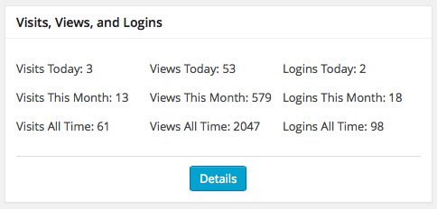 Visits, Views, Logins Report: Before