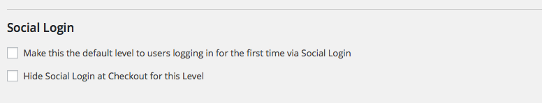 Social Login: Edit Membership Level Settings