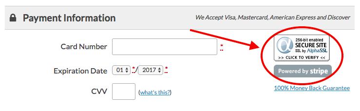 Screenshot of the SSL seal shown at membership checkout