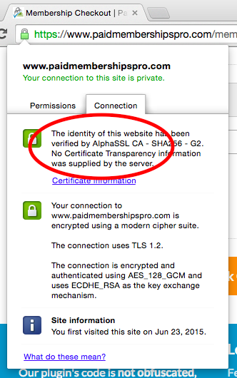 Identify who your SSL issuer is in the browser URL field