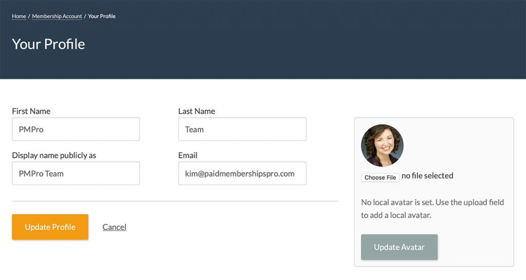 Screenshot of the Member Profile Edit page with the Basic User Avatars Shortcode form