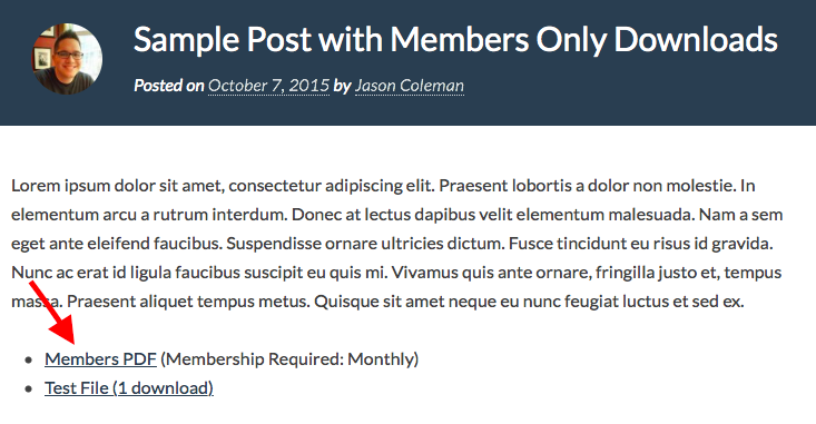 Screenshot of sample post with Members Only Downloads