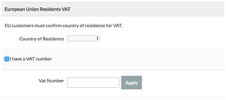 "Selected ""Enter VAT Number"" at Membership Checkout"