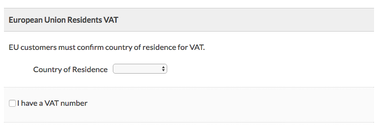 Additional Box on Membership Checkout to Select Country of Residence or Enter VAT Number