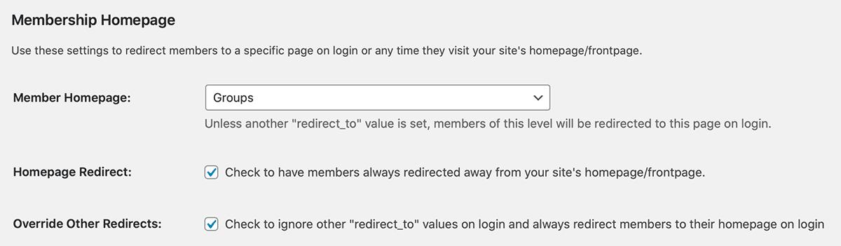 Member Homepages Settings on the Memberships > Settings > Edit Level Admin Page