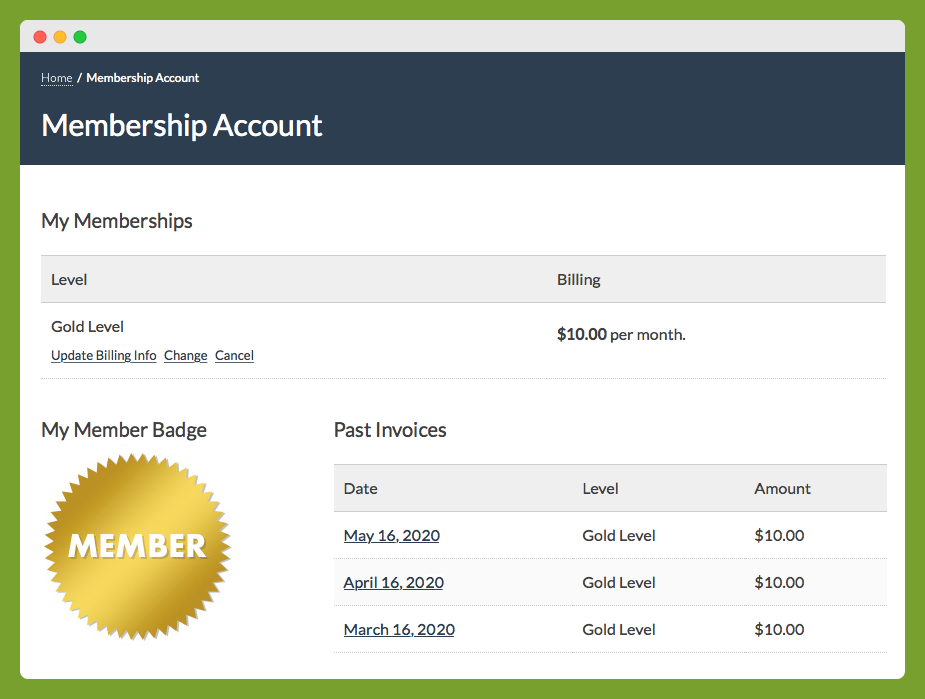 Paid Memberships Pro Members Badges