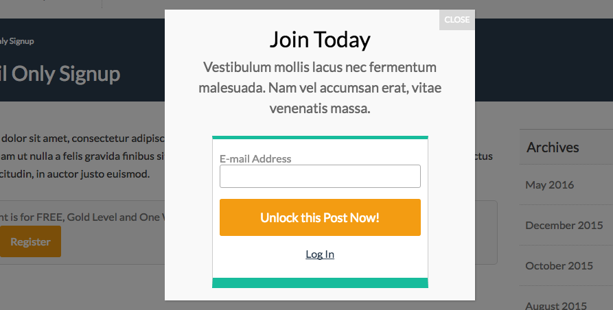 Streamline Membership Checkout with the Signup Shortcode Add On (email-only signup, redirect to referrer, and popup integration!)