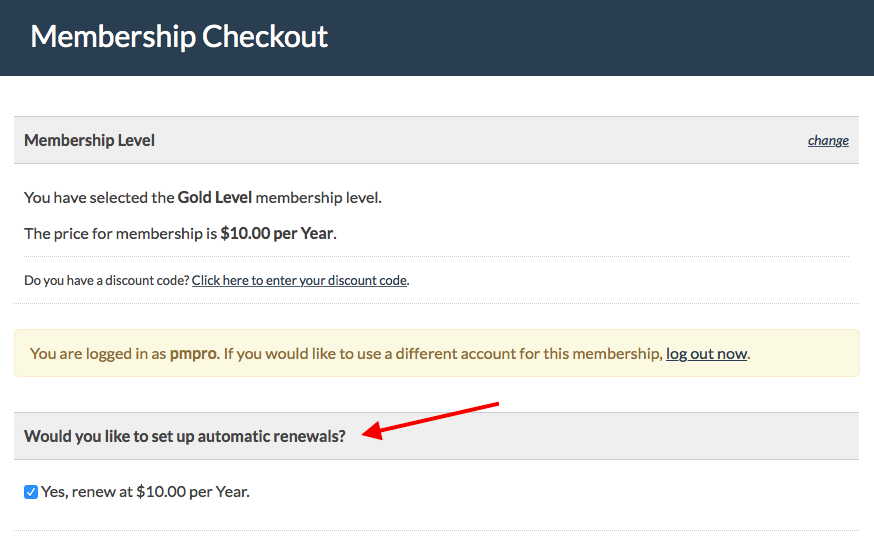 Member can optionally select auto-renewal at checkout.