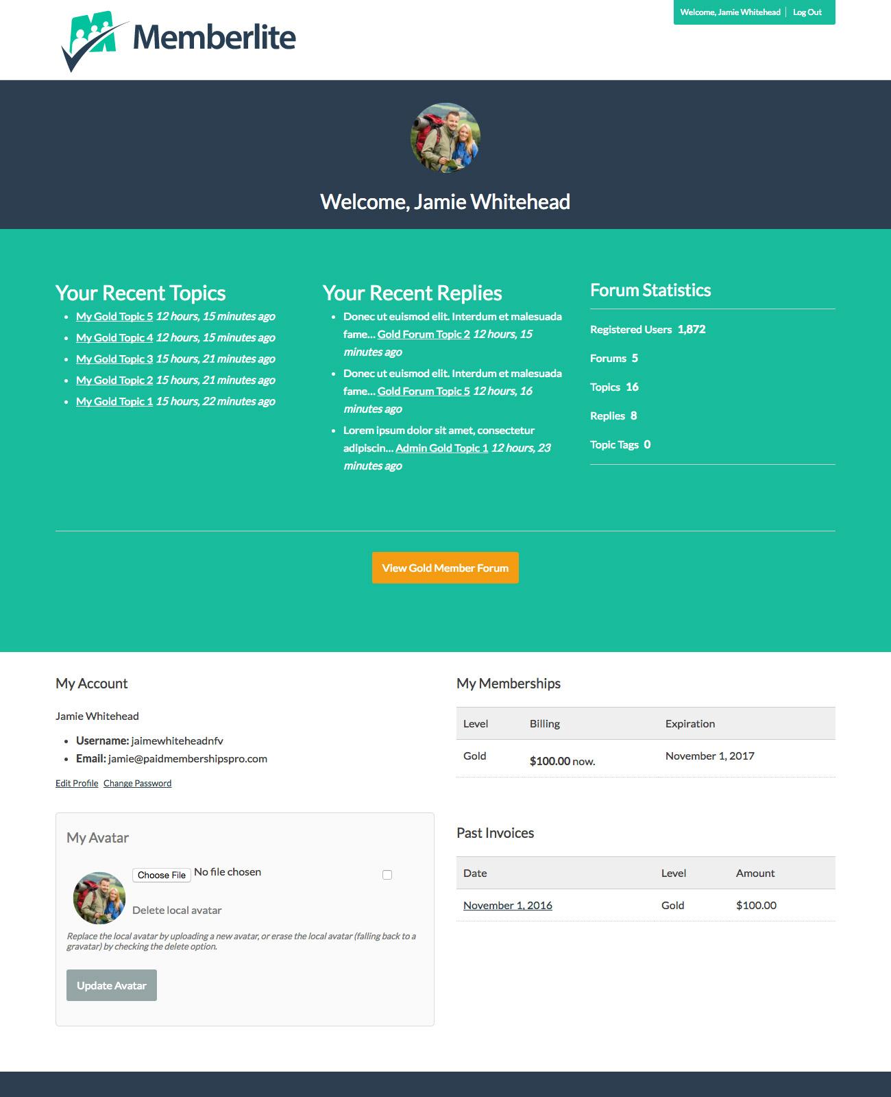 bbPress Forums Member Dashboard